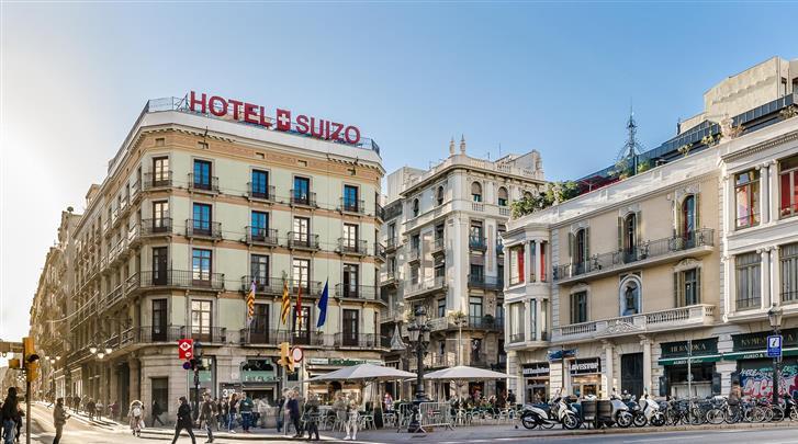 Barcelona, Hotel Suizo, Façade hotel