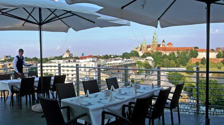 Krakau, Hotel Kossak, Restaurant 'Oranzeria' - dakterras