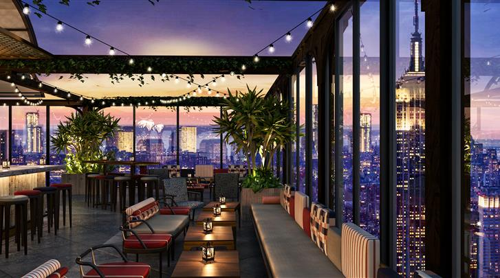 New York, Hotel The Moxy NYC Times Square , Dakterras