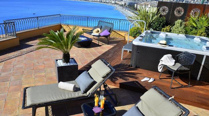 Nice, Hotel La Perouse, Dakterras