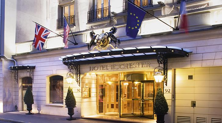 Parijs, Hotel Rochester Champs Elysées, Façade hotel