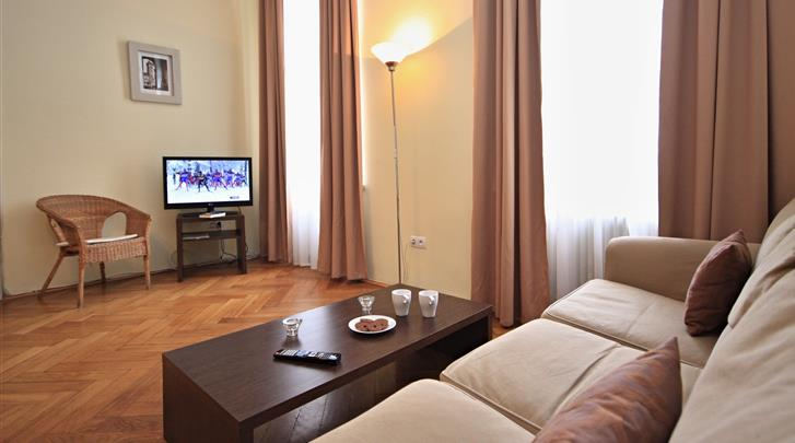Praag, Appartementen River View, Appartement woonkamer