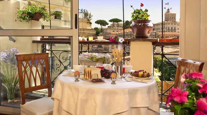Rome, Hotel La Fenice, Ontbijtruimte